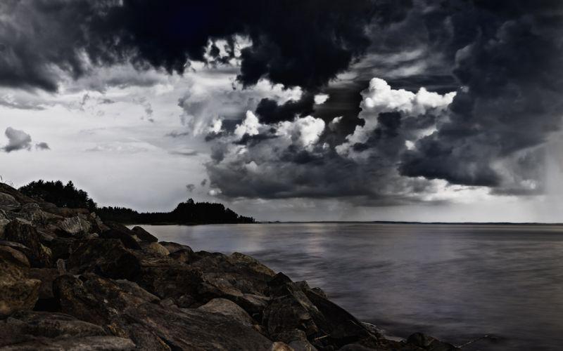 Shore Ocean Clouds Rocks Stones wallpaper