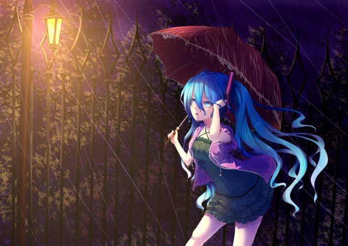 Vocaloid Hatsune Miku umbrella rain mood drops wallpaper