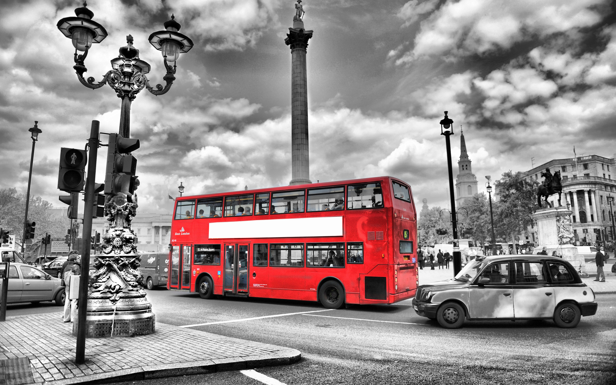Black and white bus lights england london street blur road for Black and white london mural wallpaper