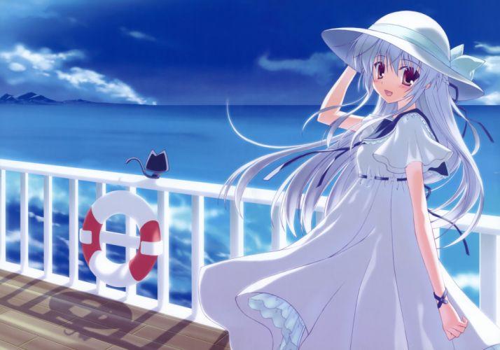 original animal blush cat dress hat long hair nanao naru poteneko summer dress wallpaper