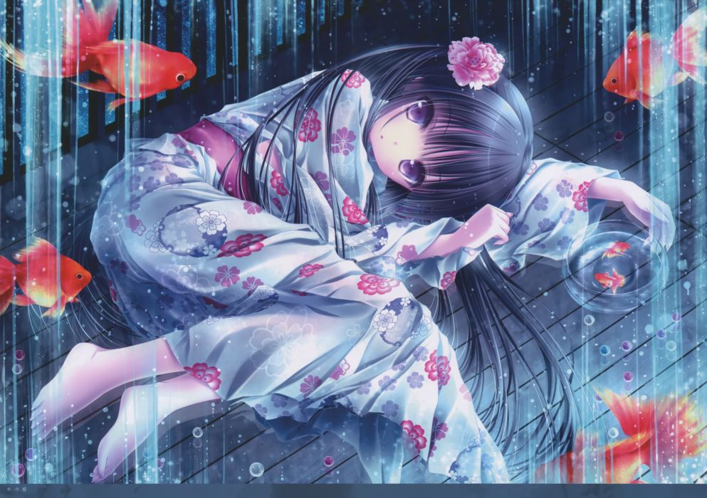original barefoot japanese clothes loli scan tinkerbell tinkle yukata wallpaper