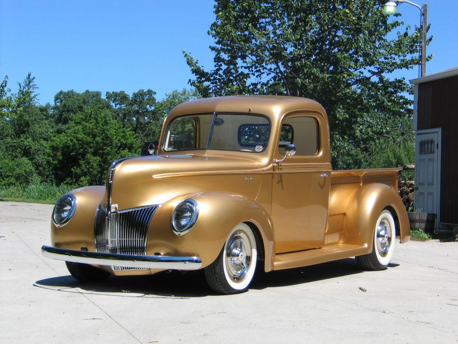 1940 Ford Pickup truck retro hot rod rods lowrider lowriders  f wallpaper