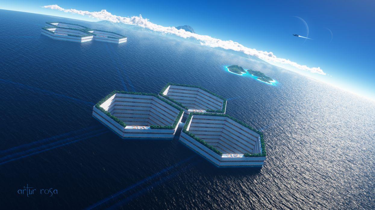 Art sea water cell cells structures sci-fi ocean city citys futuristic wallpaper