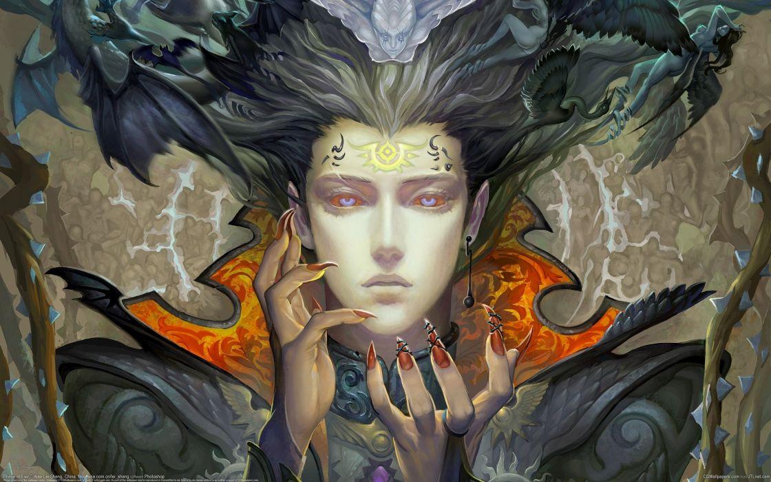 Girl Angels Demons Claws Symbols Piercing Dark Occult