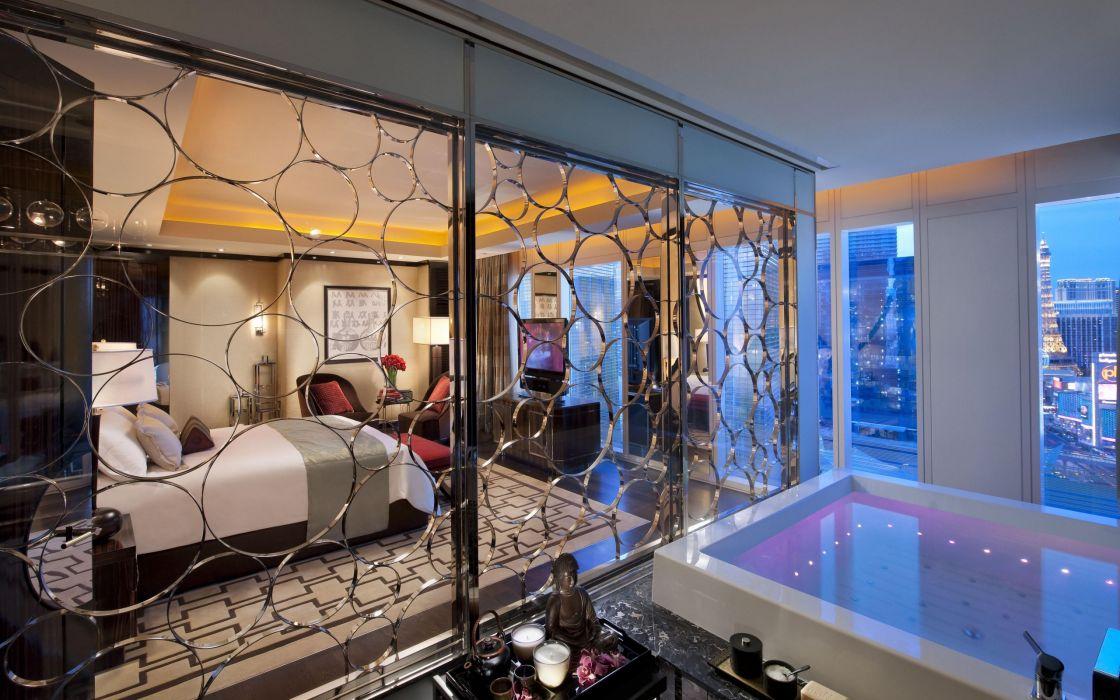 interior hotel Las Vegas bedroom hotel Las Vegas bed bath chair reflection window city design wallpaper