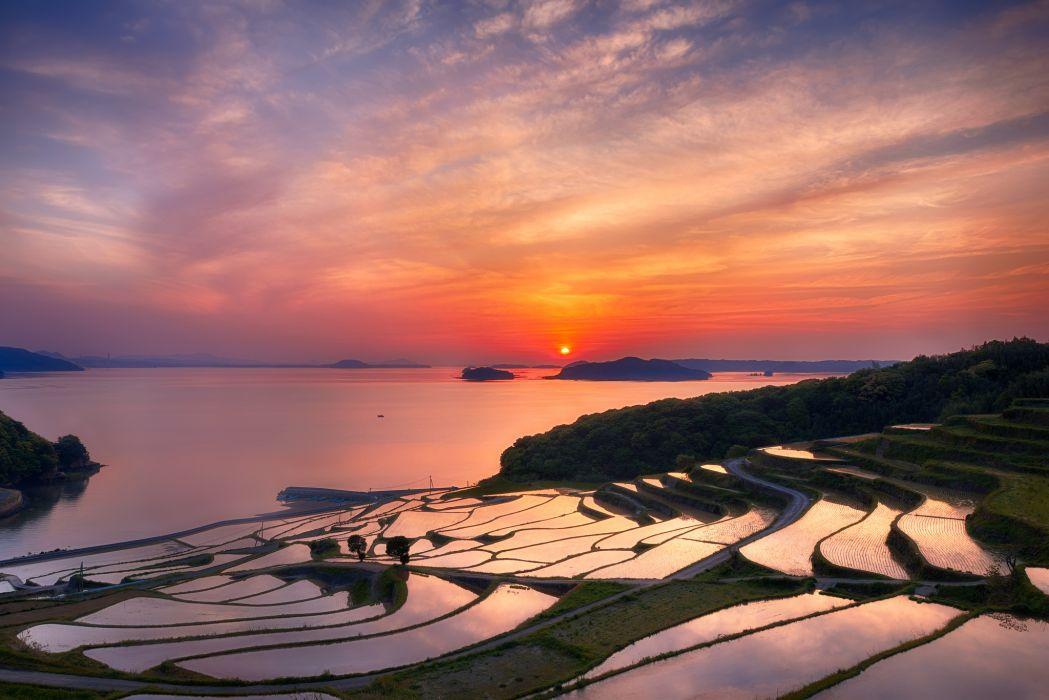 Japan Nagasaki Prefecture terraces rice evening sun sunset orange sky clouds wallpaper