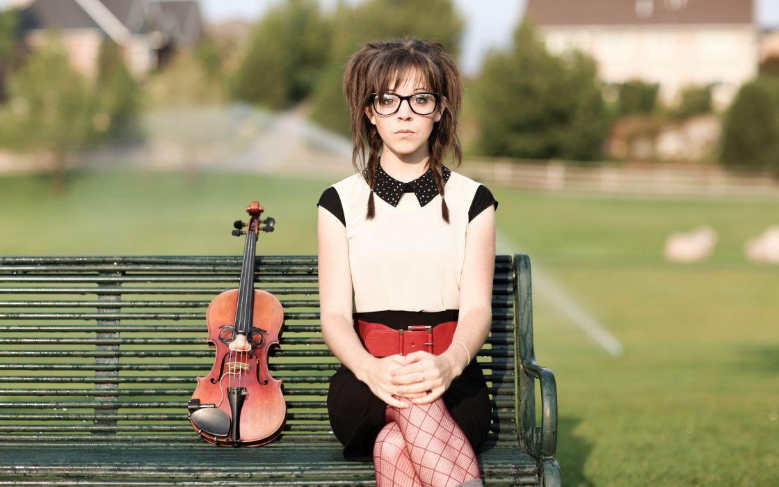 Lindsey Stirling violin bench wallpaper