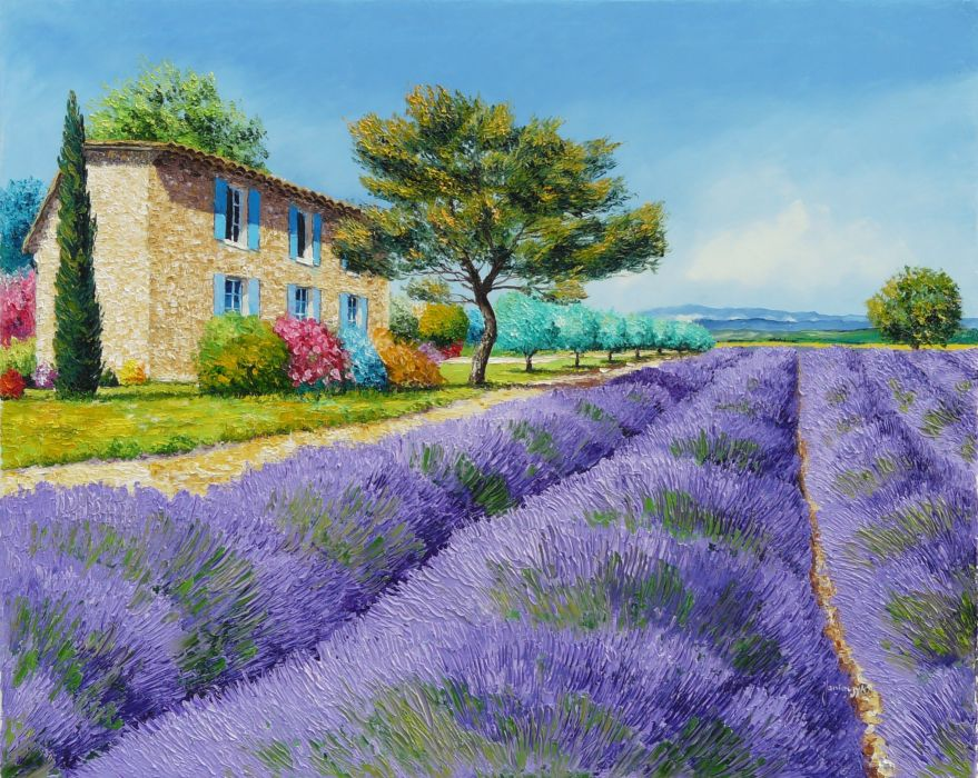 painting art landscape Jean-Marc Janiaczyk field flowers lavender house trees bushes mountains wallpaper