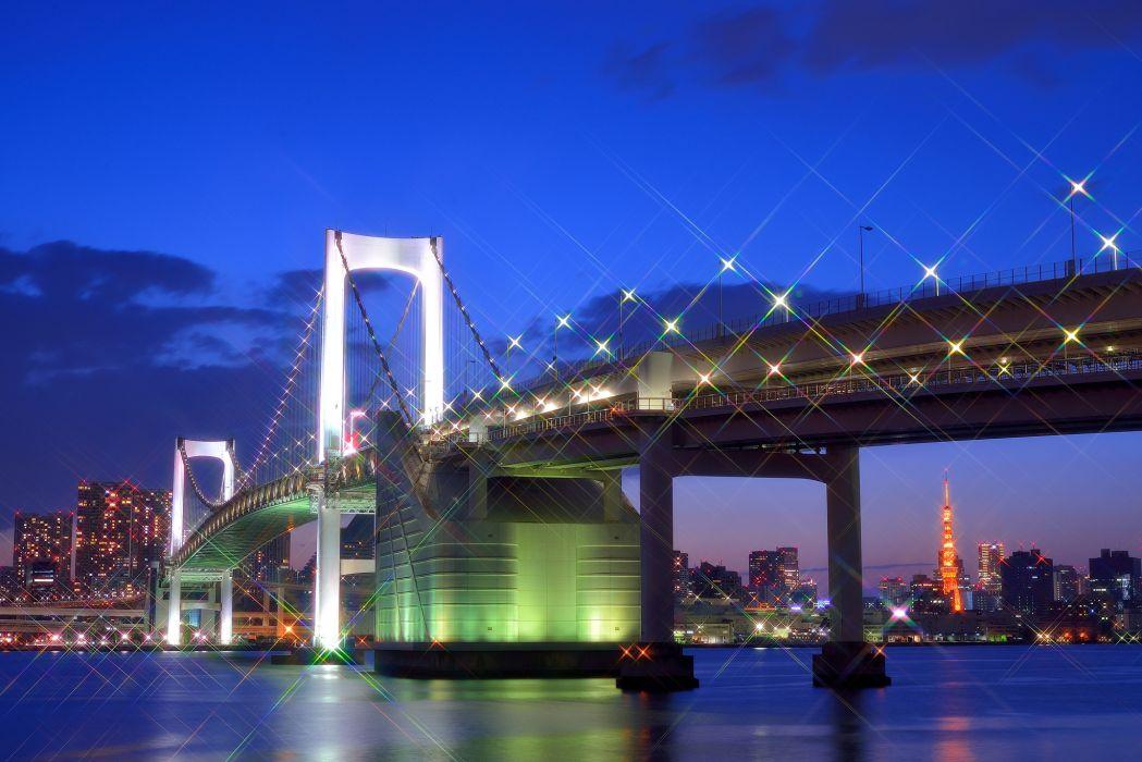 Tokyo Japan the capital metropolis bridge lights lighting lights glare bay houses buildings night blue sky clouds reflection glow wallpaper