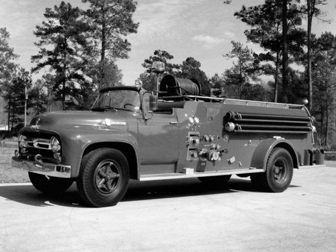 1956 Ford F-800 Firetruck retro truck wallpaper