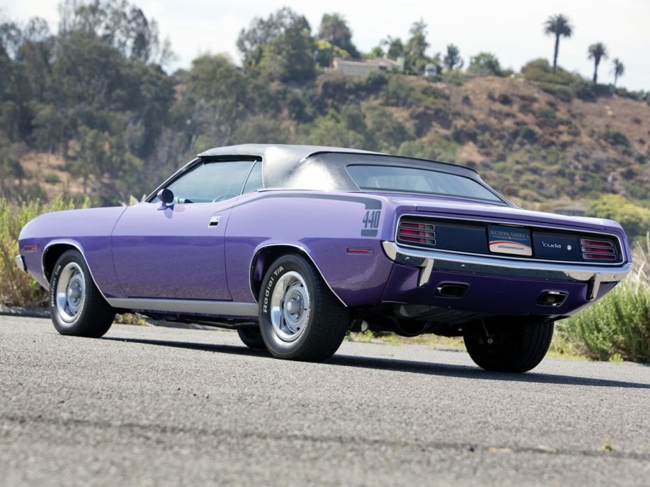 1970 Plymouth Cuda 440 Convertible BS27 classic muscle purple wallpaper