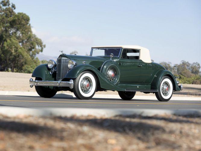 1934 Packard Twelve Coupe Roadster luxury retro wallpaper