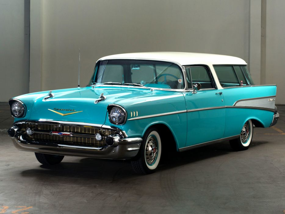 1957 Chevrolet Bel Air Nomad retro stationwagon   h wallpaper