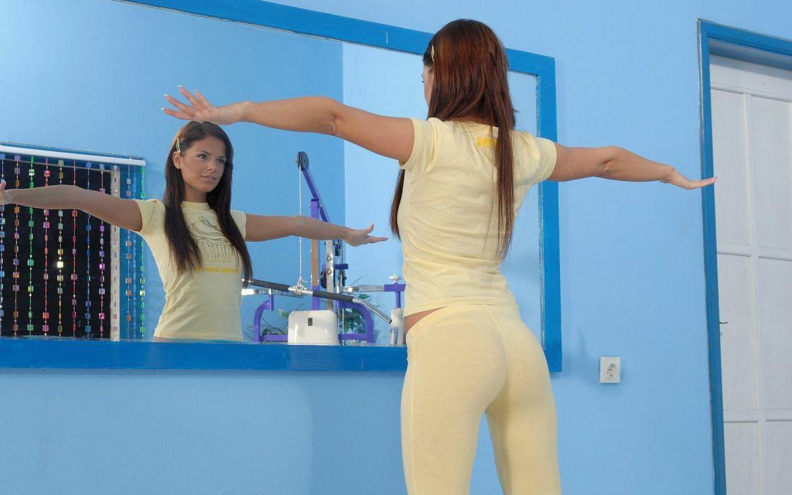 Brunette Mirror Beauty wallpaper