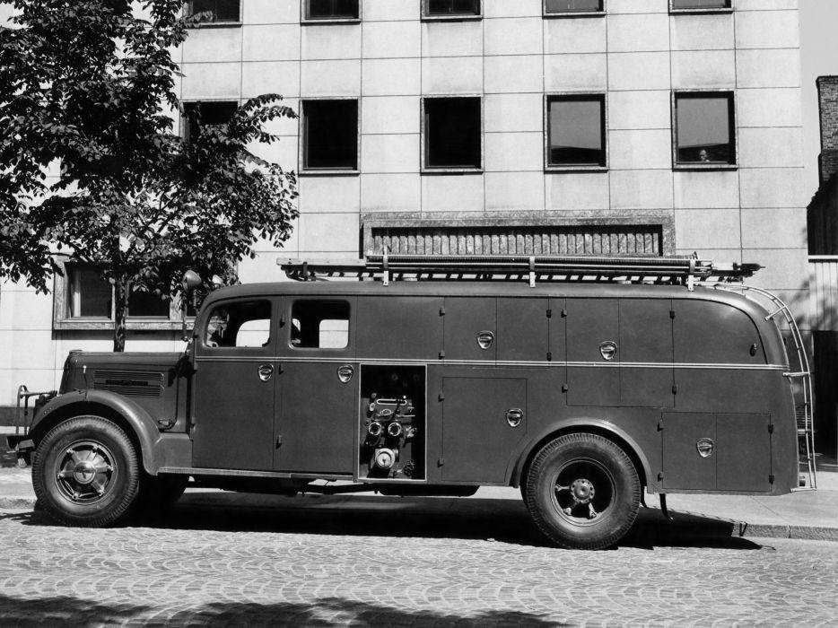 1951 White Super Power Firetruck truck retro wallpaper