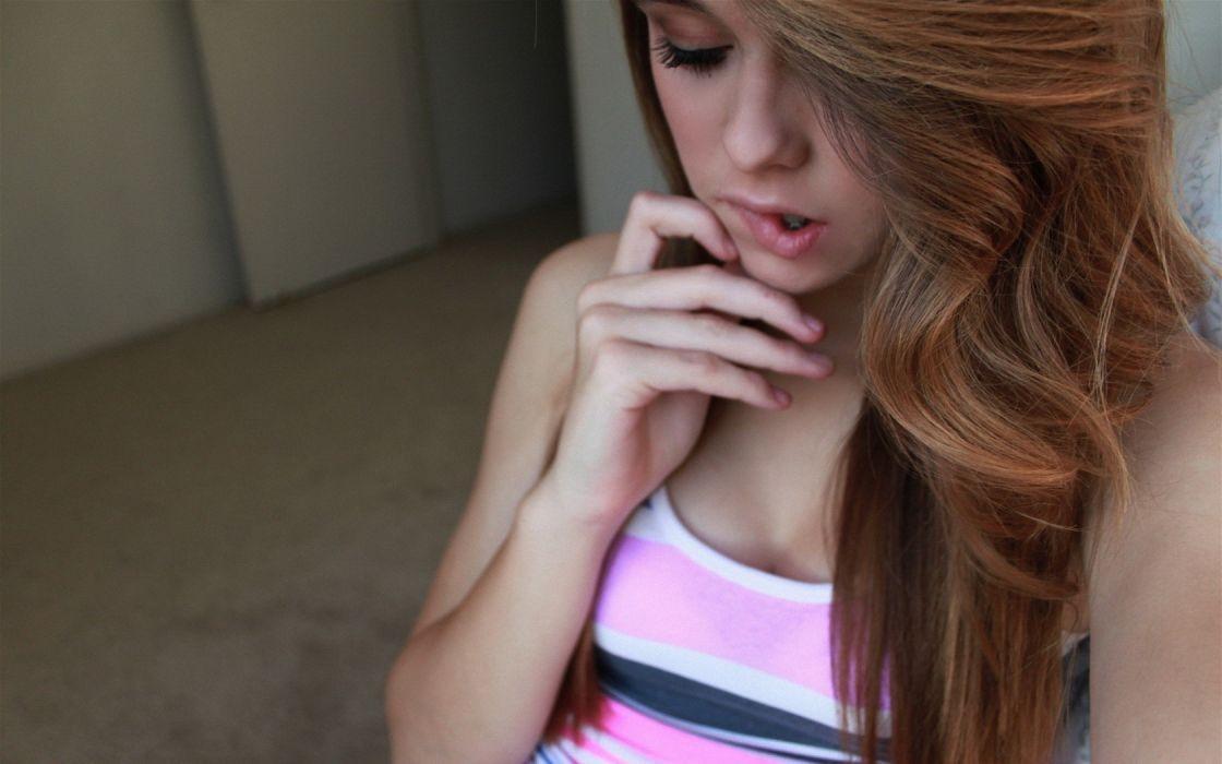 Girl Woman Face Beautyful Redhead Biting Lips wallpaper