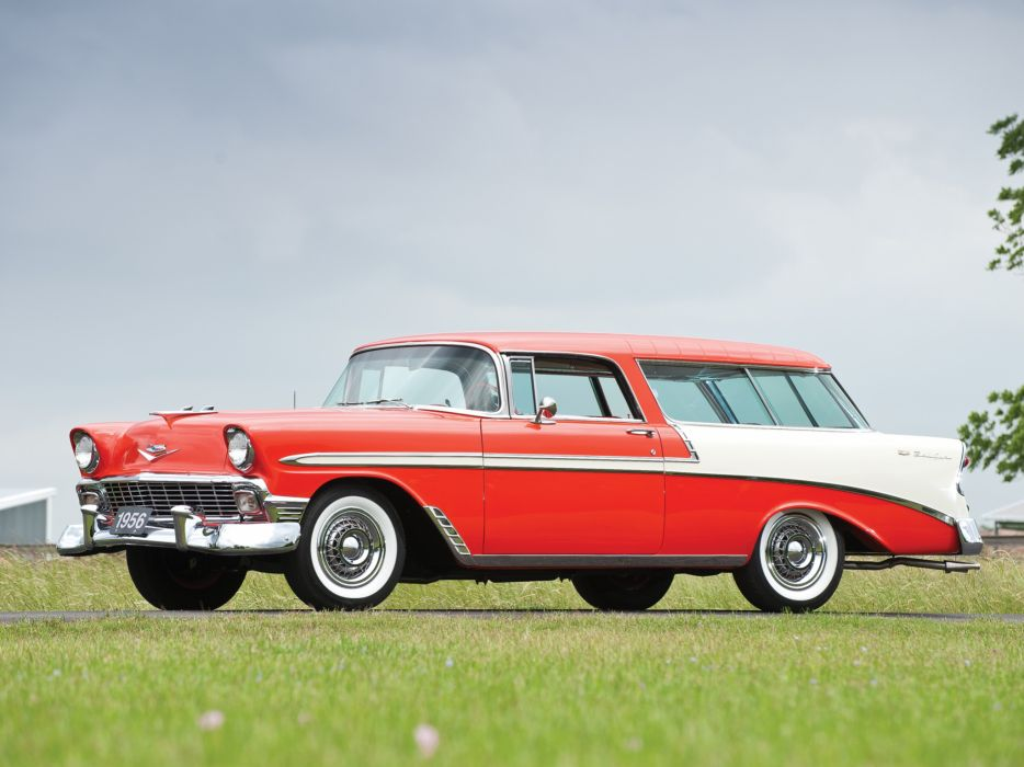 1956 Chevrolet Bel Air Nomad retro stationwagon    f wallpaper