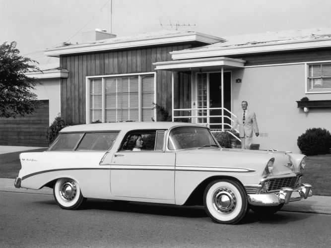 1956 Chevrolet Bel Air Nomad retro stationwagon fe wallpaper