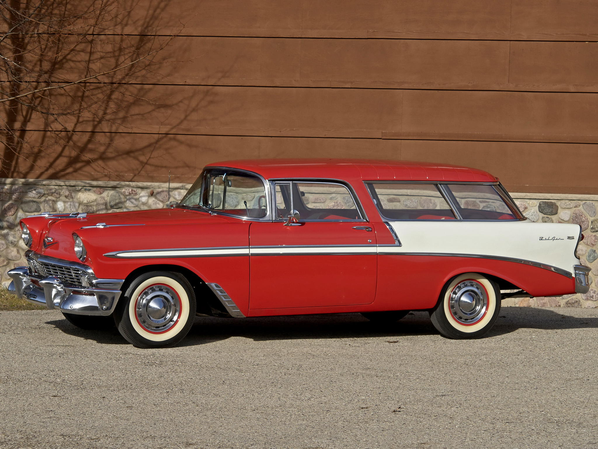 1956 Chevrolet Bel Air Nomad retro stationwagon fd wallpaper