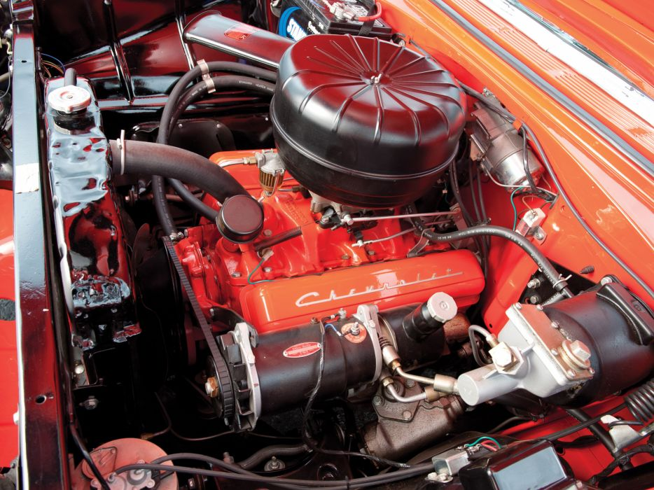 1956 Chevrolet Bel Air Nomad retro stationwagon engine engines wallpaper
