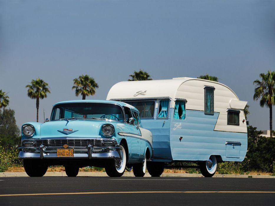 1956 Chevrolet Bel Air Nomad retro stationwagon trailor camping wallpaper