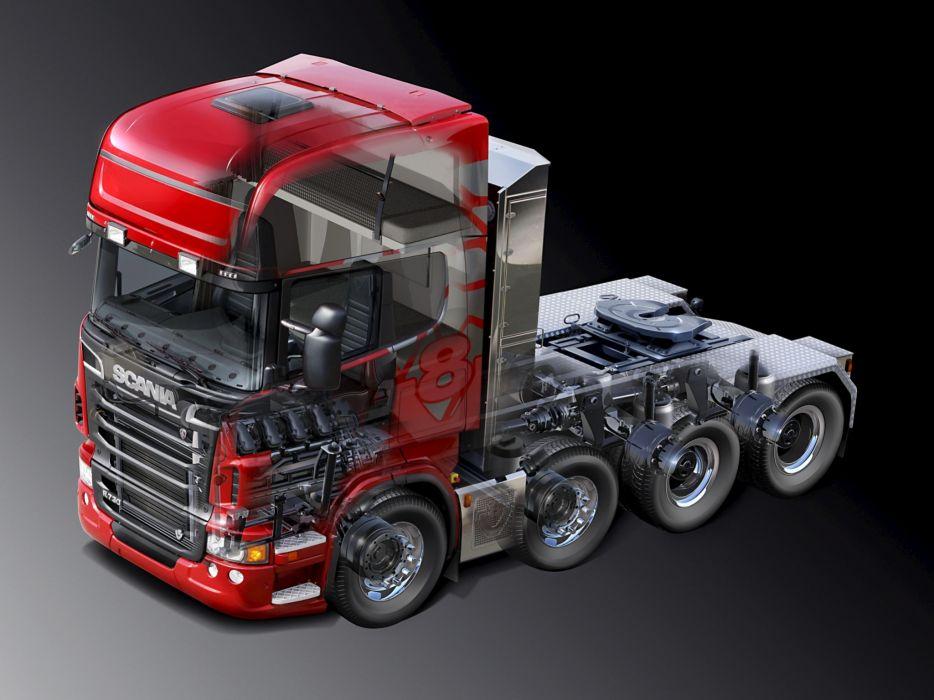 2010 Scania R730 8x4 Topline semi tractor rig truck interior wallpaper