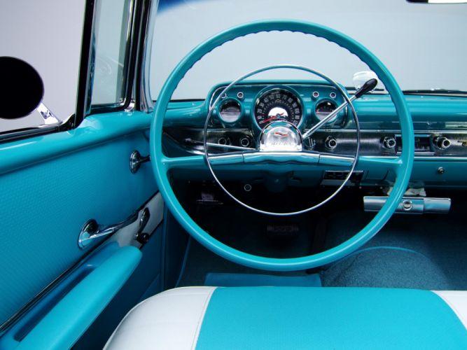 1957 Chevrolet Bel Air Convertible Fuel Injection 2434-1067D retro interior wallpaper