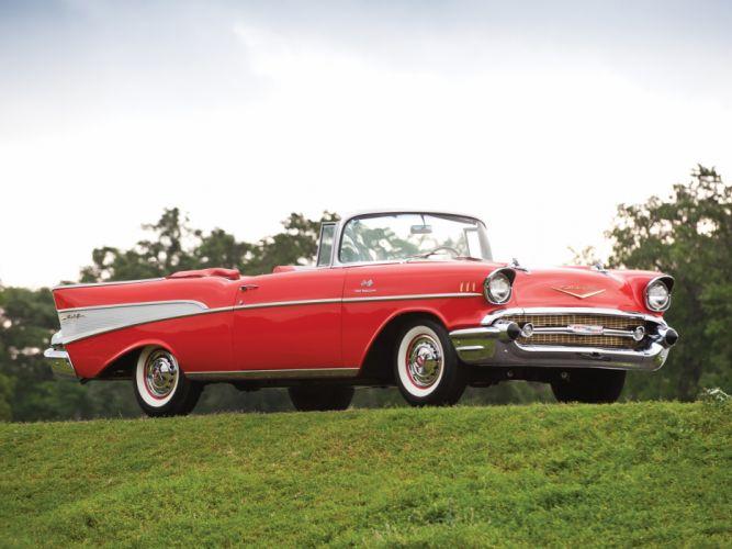 1957 Chevrolet Bel Air Convertible Fuel Injection 2434-1067D retro h wallpaper