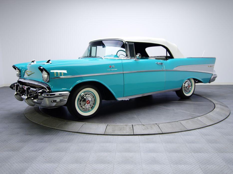 1957 Chevrolet Bel Air Convertible Fuel Injection 2434-1067D retro wallpaper