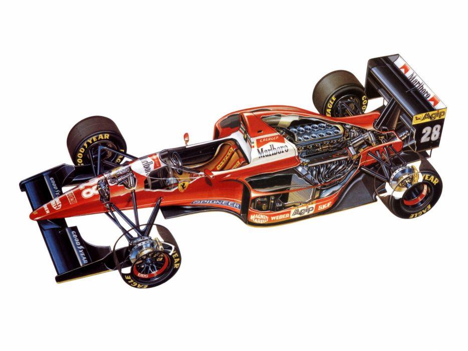 1993 Ferrari F93A race racing formula one f-1 interior engine engines wallpaper