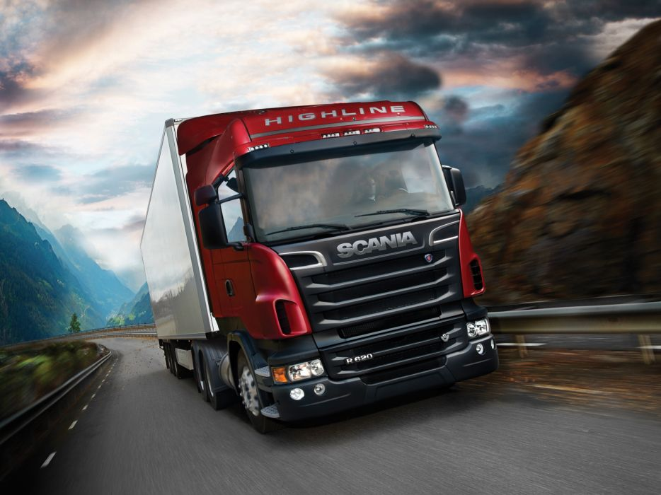 2009 Scania R620 6x4 Highline tractor semi rig truck transport wallpaper