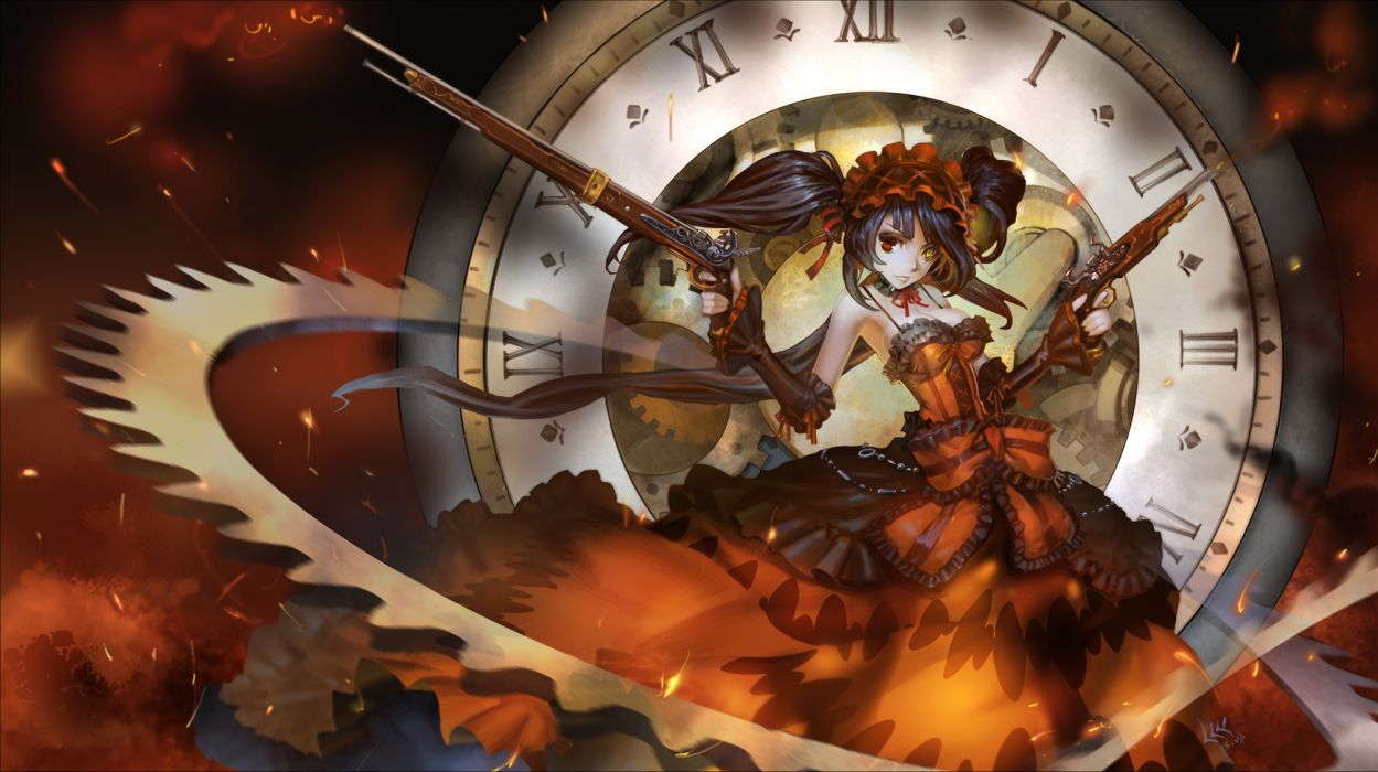 date a live bicolored eyes black hair date a live dress gun long hair ribbons tokisaki kurumi weapon zm wallpaper