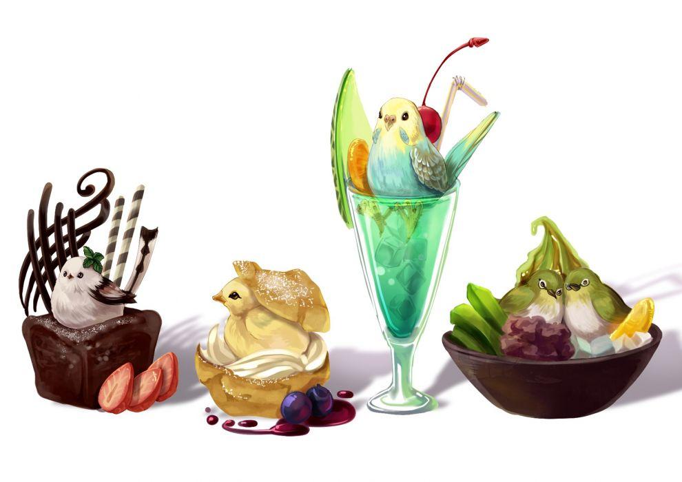 original animal bird cake drink food janis (hainegom) original wallpaper