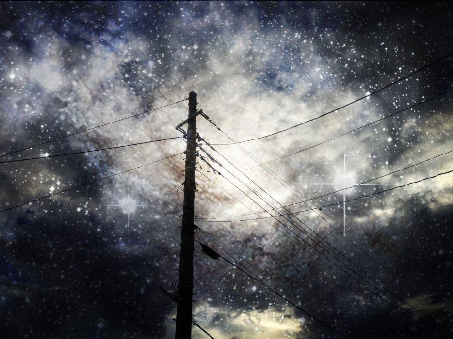 original asuka (artist) clouds jpeg artifacts night original realistic scenic sky stars wallpaper