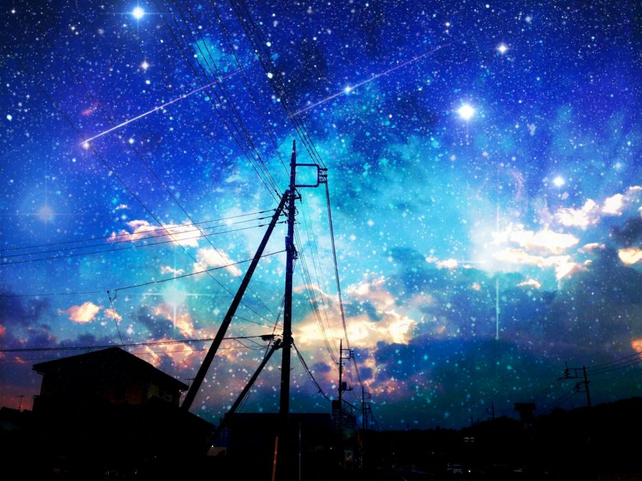 original asuka night original scenic sky stars wallpaper
