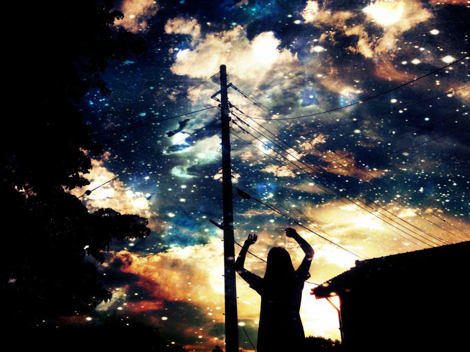 original asuka scenic silhouette stars wallpaper
