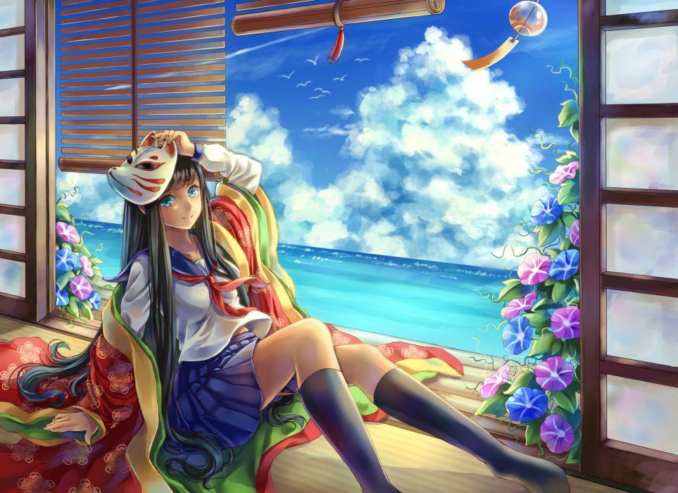 original clouds japanese clothes kneehighs mask original seifuku summer tandolcedeco wallpaper