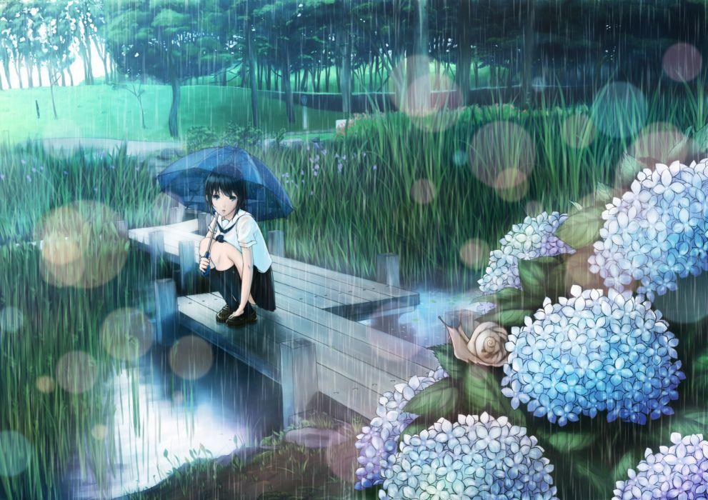 original grass hyp original rain seifuku umbrella mood wallpaper
