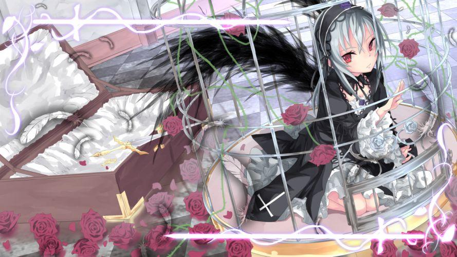rozen maiden cage flowers goth-loli gray hair lolita fashion rose rozen maiden saraki suigintou wings wallpaper