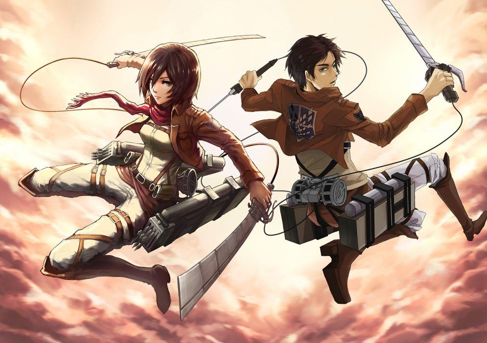 shingeki no kyojin eren jaeger gou mikasa ackerman scarf shingeki no kyojin sky weapon wallpaper
