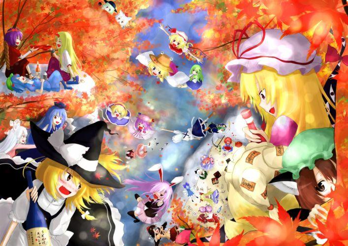touhou autumn chen cirno drink group ibuki suika inaba tewi kochiya sanae konpaku youmu leaves moriya suwako touhou tree yakumo yukari yasaka kanako yuu-rin wallpaper