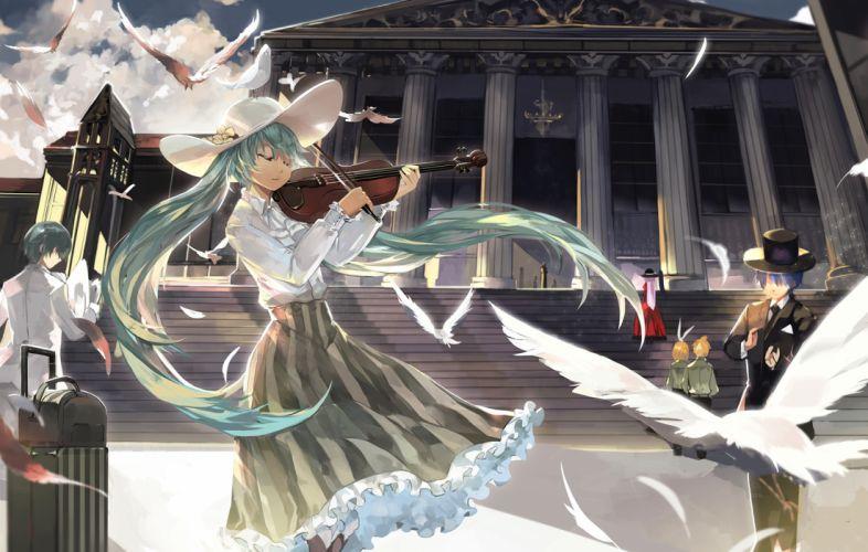 vocaloid animal bird dress feathers hat hatsune miku instrument kagamine len kagamine rin kaito megurine luka saberiii violin vocaloid wallpaper