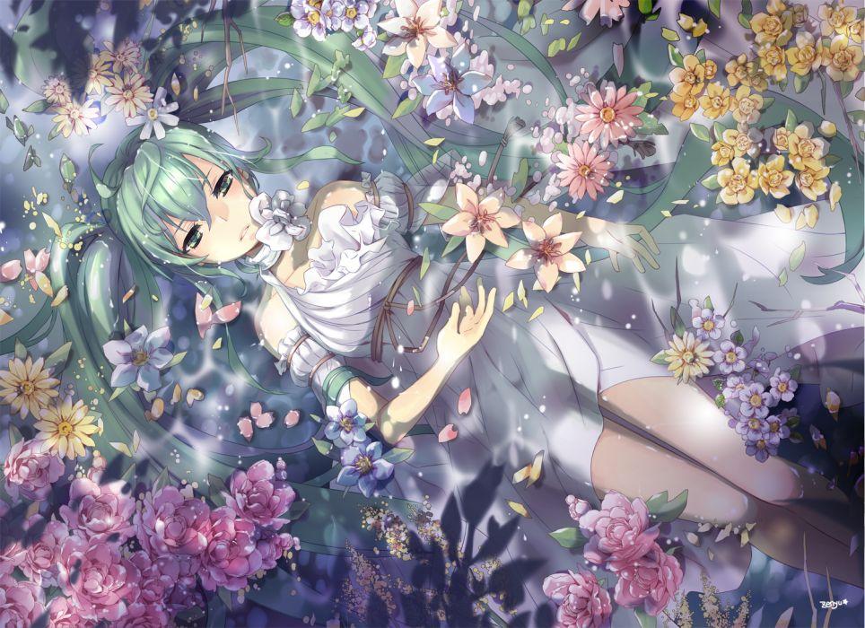 vocaloid dress flowers green eyes green hair hatsune miku long hair petals twintails vocaloid water wet zenyu wallpaper