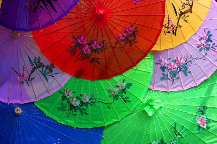 colorful umbrellas Japanese bokeh asian wallpaper