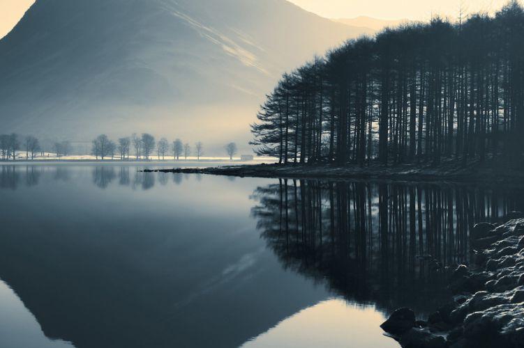 lake mountain trees landscape reflection wallpaper