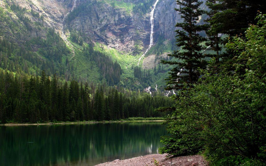 mountain river trees landscape wallpaper