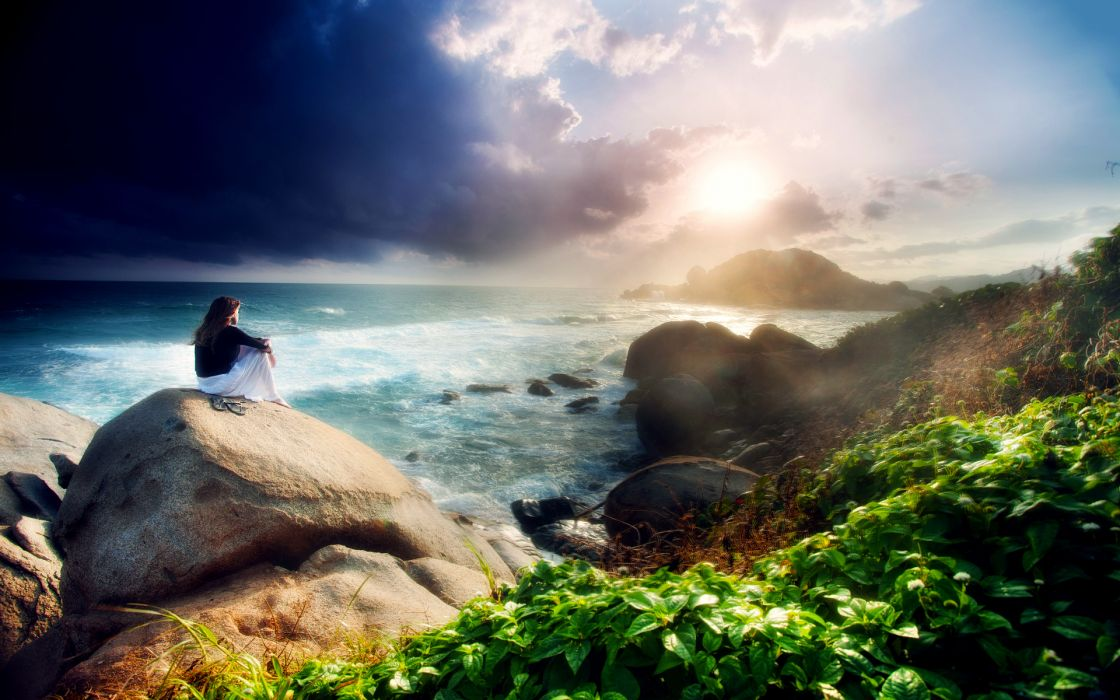sea rocks girl mood wallpaper