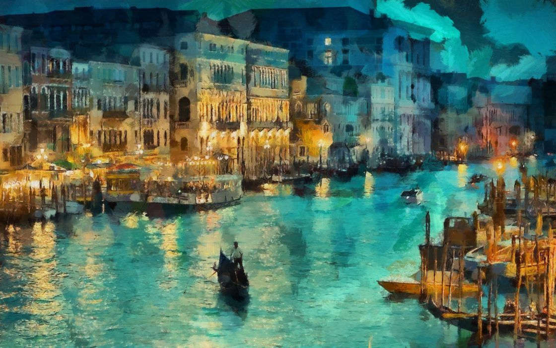 venice canal art lights italy night painting wallpaper