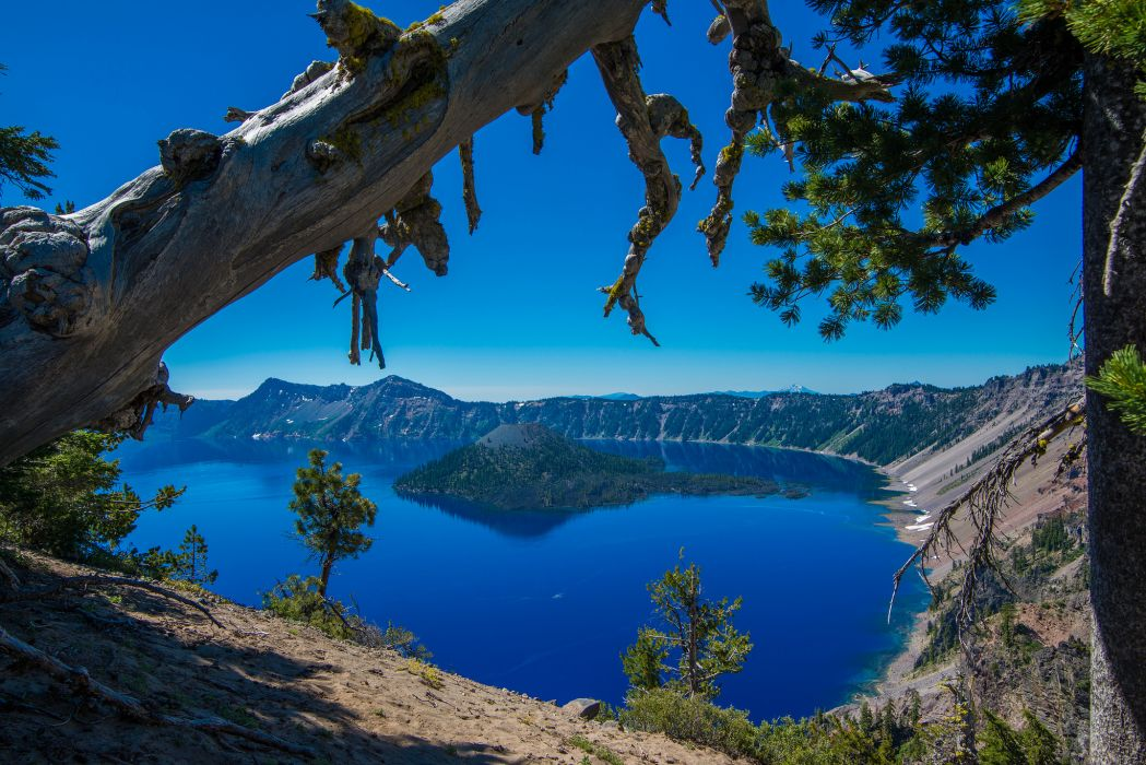 Crater Lake Oregon island trees mountains reflection wallpaper
