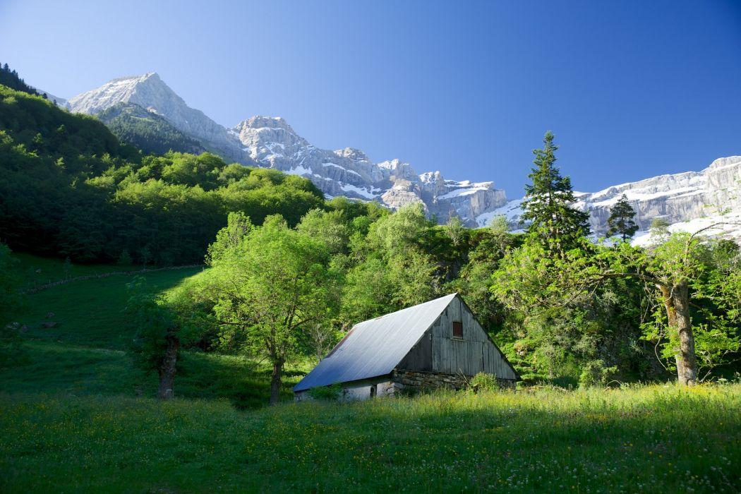France trees hut meadow mountain landscape wallpaper